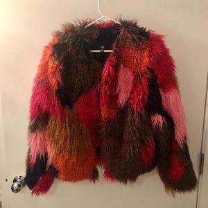 Color block faux fur jacket.